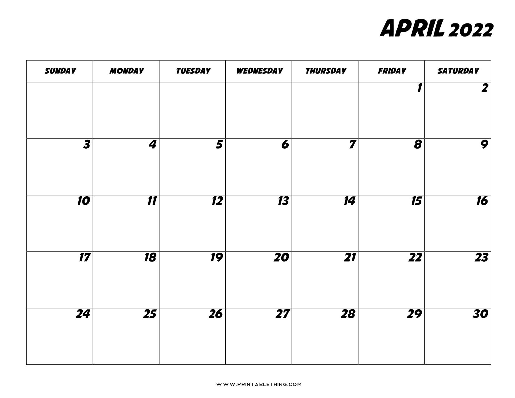 Printable Calendar April 2022.20 April 2022 Calendar Printable Pdf Us Holidays Blank Free