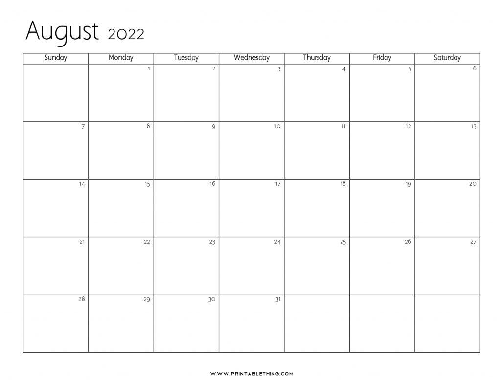 August 2022 Blank Calendar