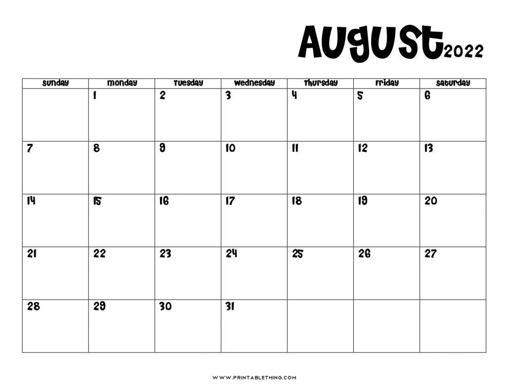 August 2022 Calendar PDF