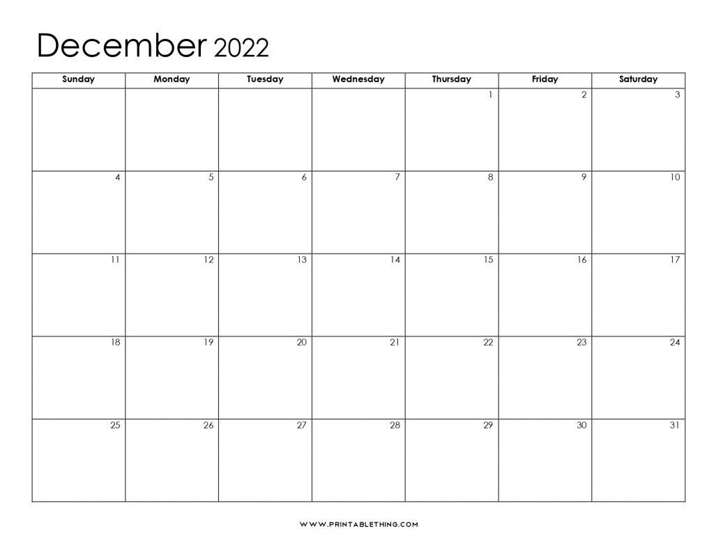 December 2022 Blank Calendar