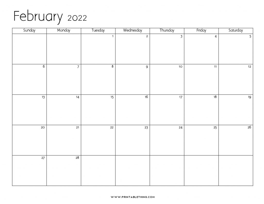 February 2022 Blank Calendar