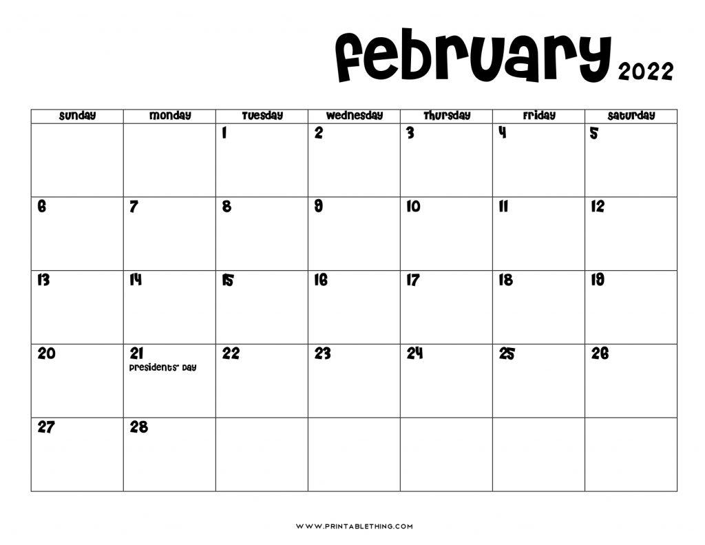 February 2022 Calendar PDF