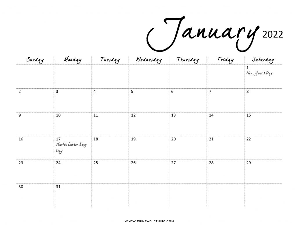 January 2022 Calendar PDF