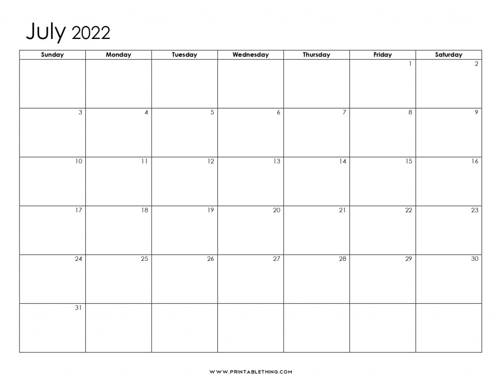 July 2022 Blank Calendar