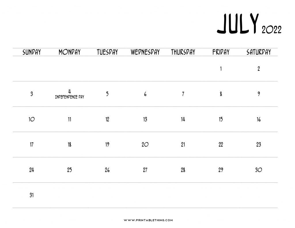 July 2022 Calendar Printable