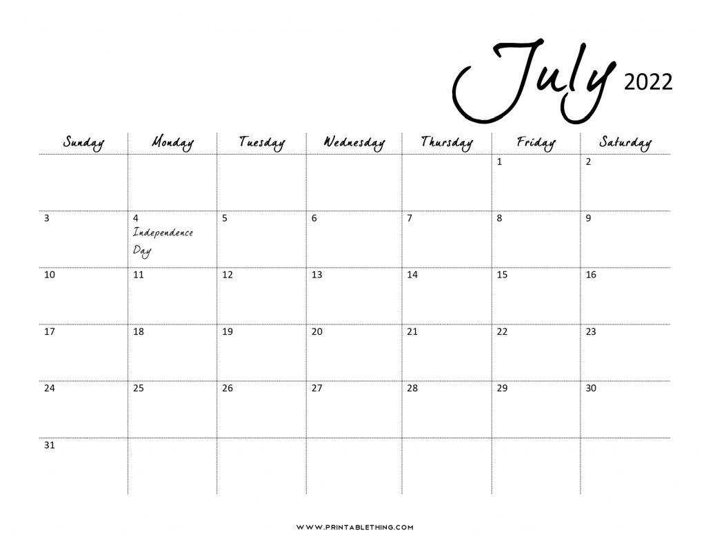 July 2022 Calendar PDF