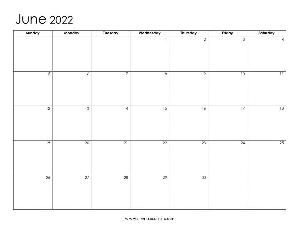 June 2022 Blank Calendar
