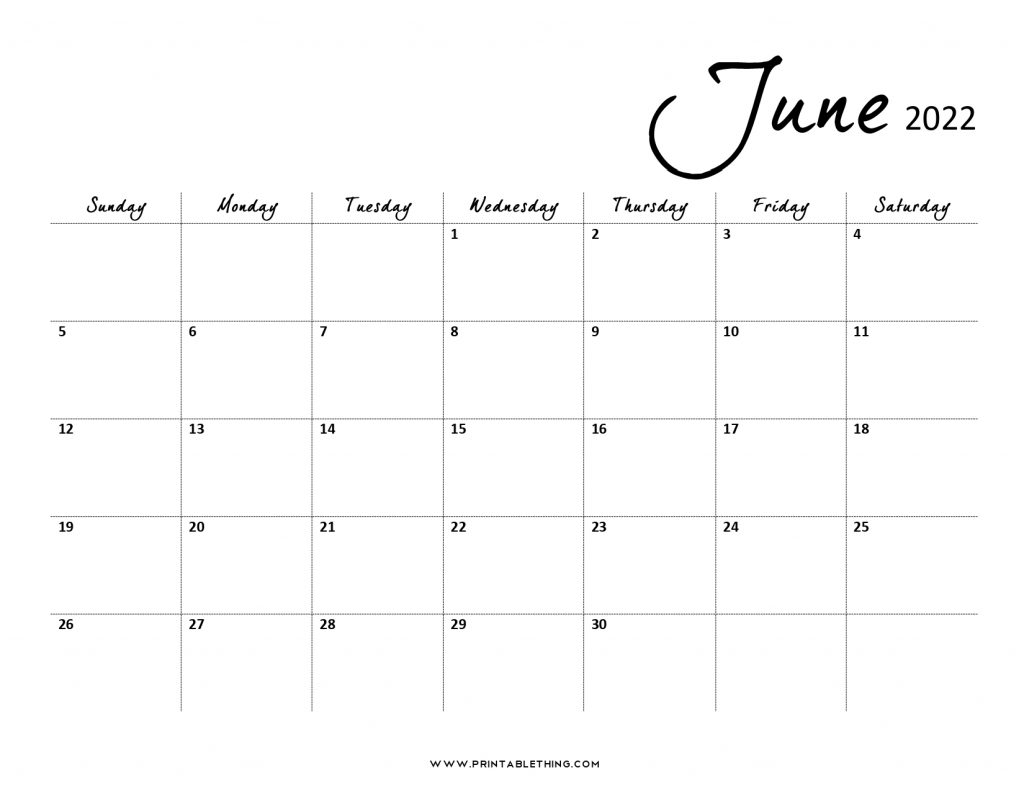 June 2022 Calendar PDF