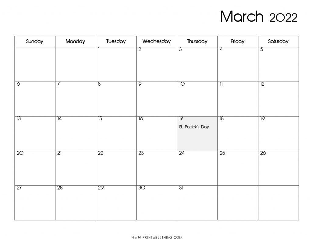 March 2022 Calendar PDF