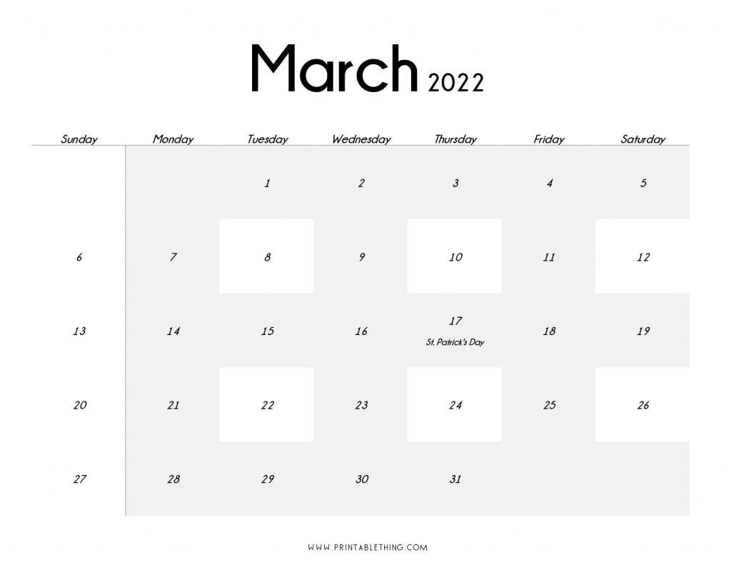 March 2022 Blank Calendar