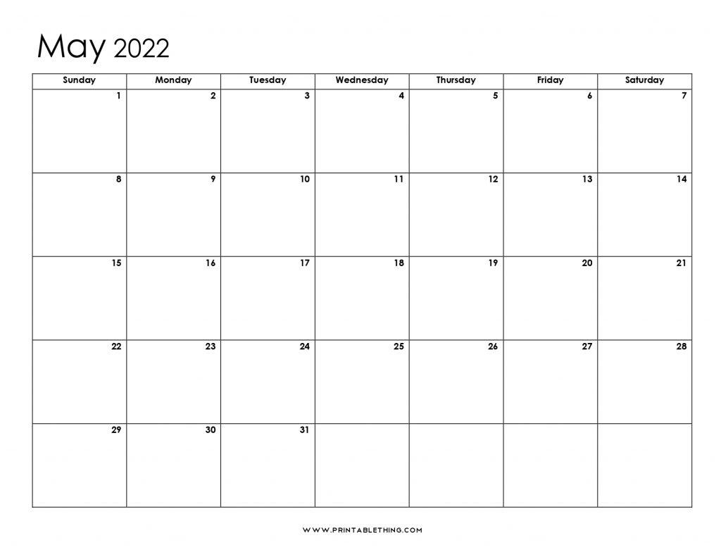 May 2022 Blank Calendar