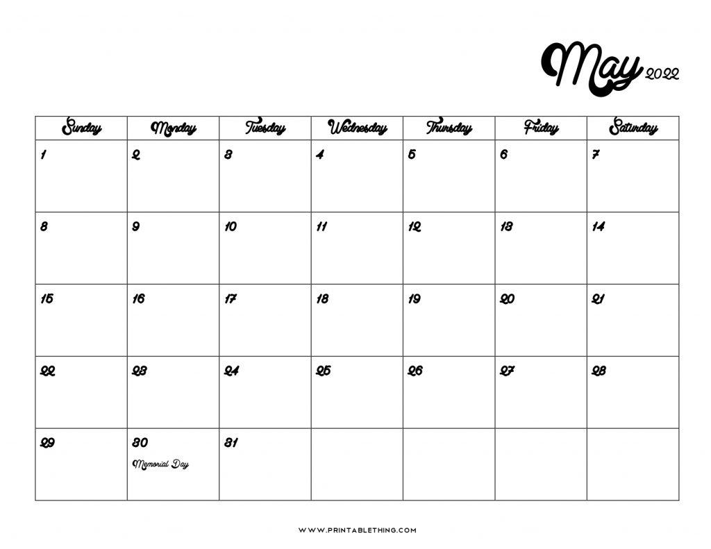 May 2022 Calendar PDF