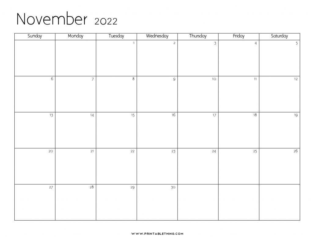 November 2022 Blank Calendar