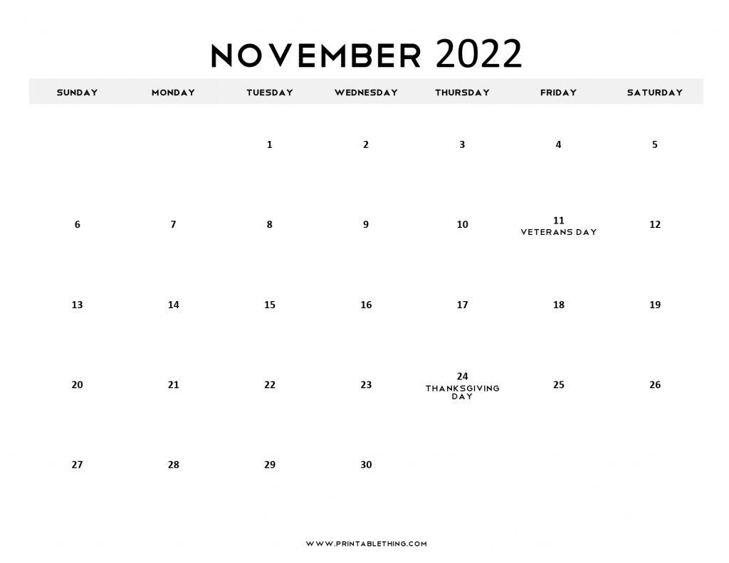 November 2022 Calendar Printable