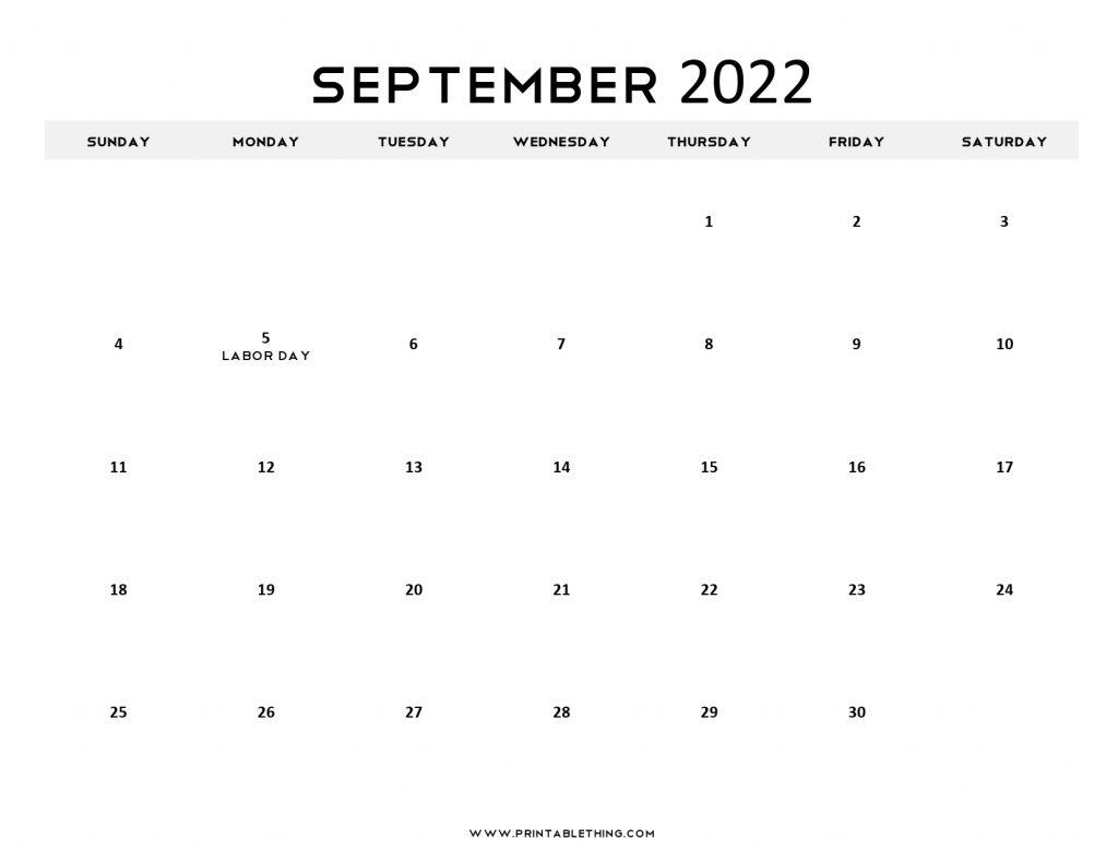 September 2022 Calendar with Holidays