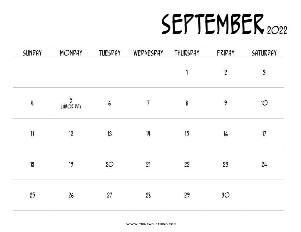 September 2022 Calendar Printable