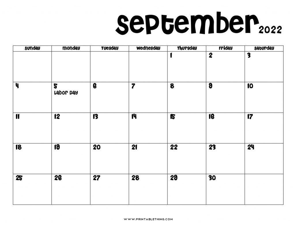 September 2022 Calendar PDF