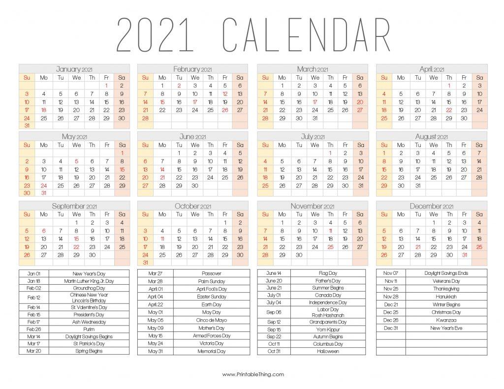 2021 Calendar Printable One Page
