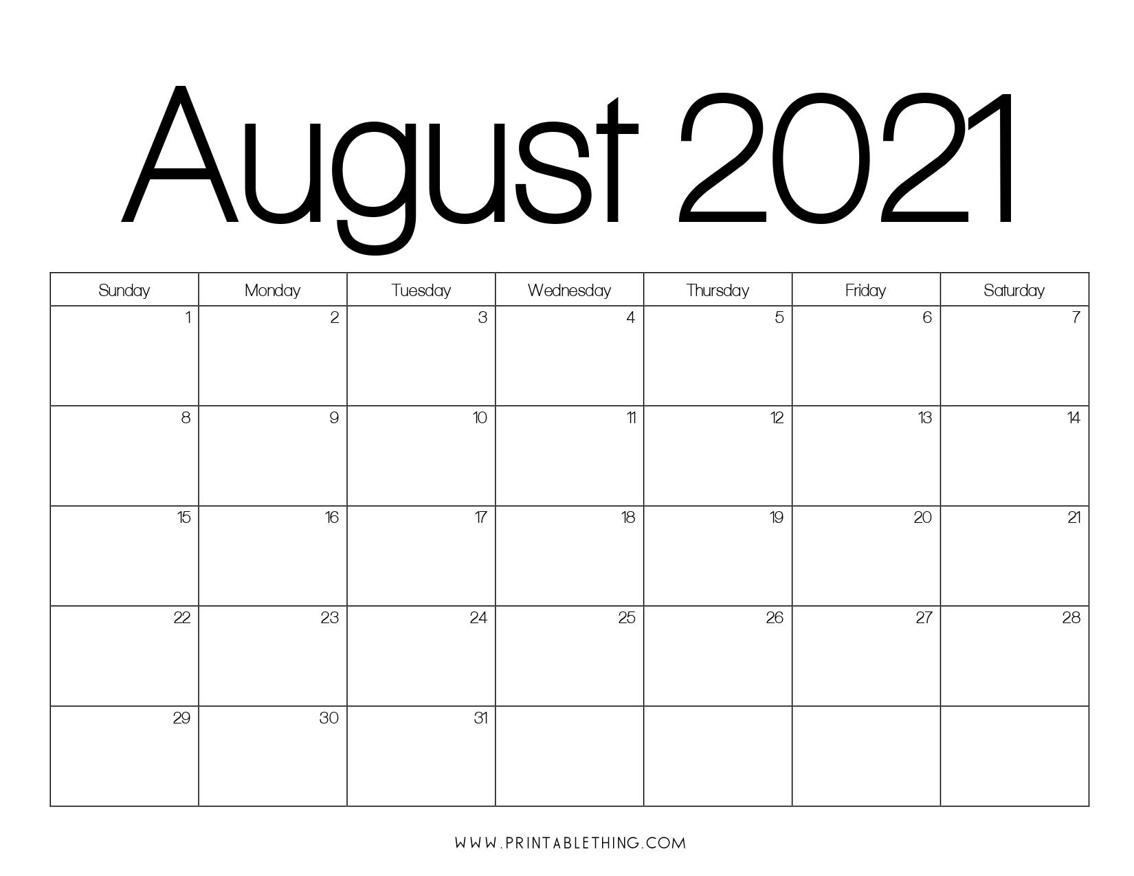 August 2021 Calendar PDF, August 2021 Calendar Image ...