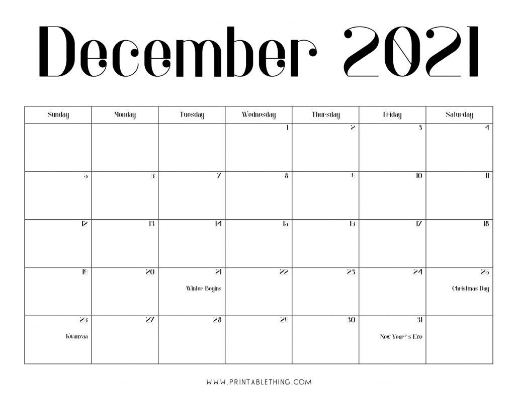 December 2021 Calendar PDF