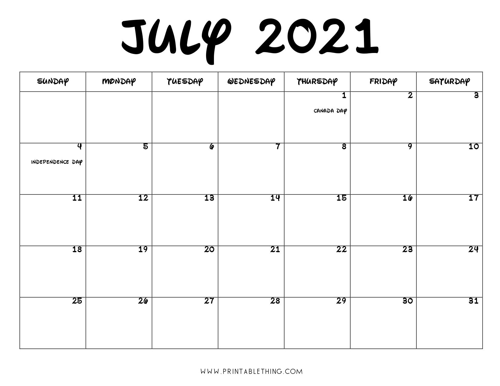 July 2021 Calendar PDF, July 2021 Calendar Image, Print ...