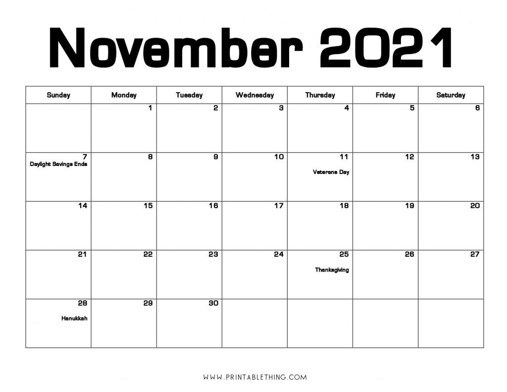 November 2021 Calendar PDF