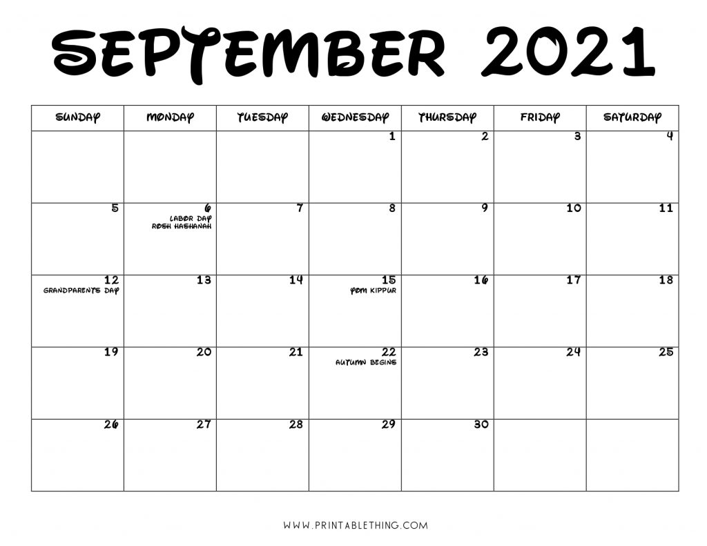 September 2021 Calendar PDF