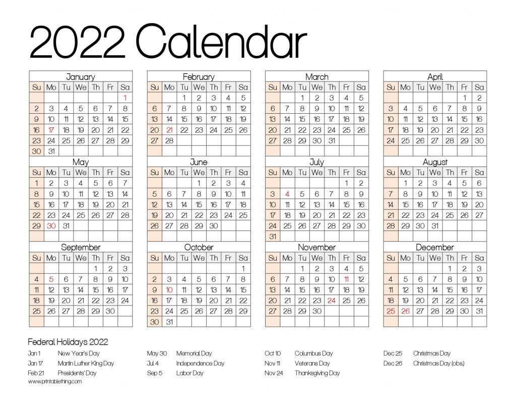 2022 CALENDAR PRINTABLE ONE PAGE