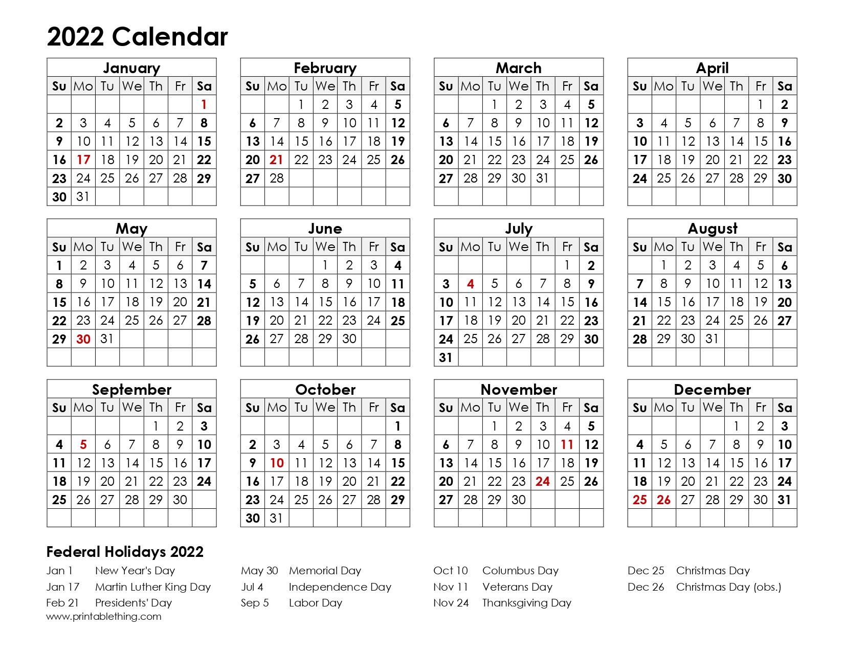 2022 One Page Calendar.2022 Calendar Printable Pdf 2022 Calendar Printable One Page Usa