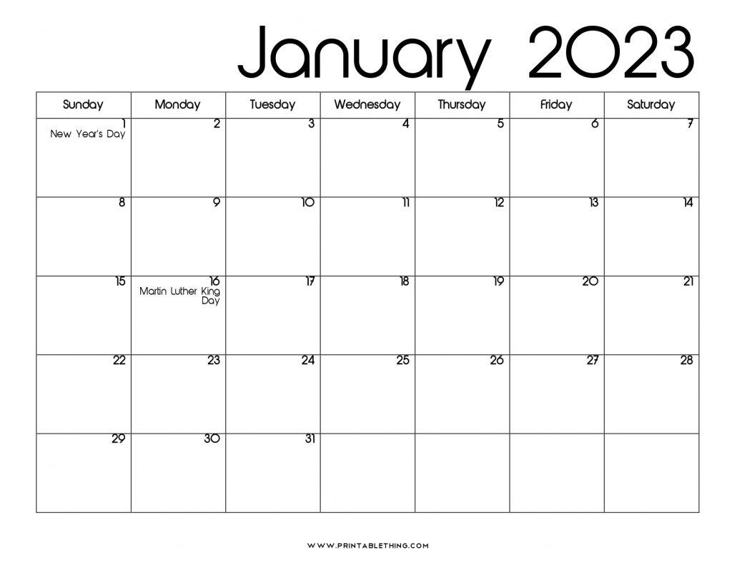 January 2023 Calendar Printable