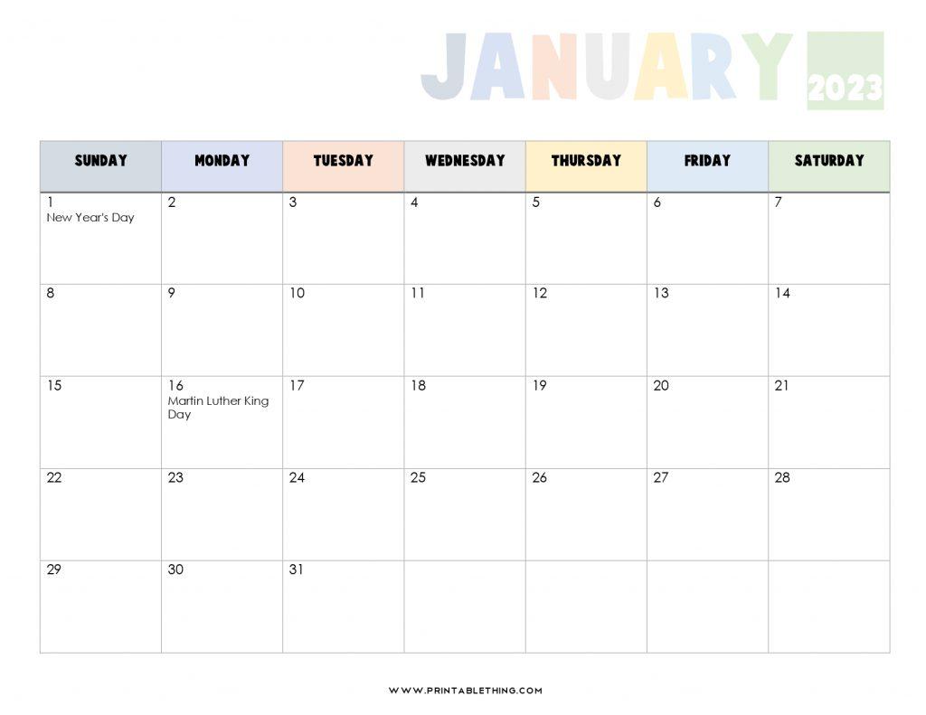 January 2023 Calendar PDF