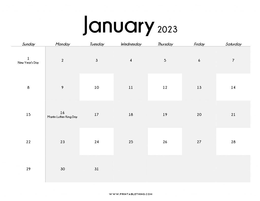 January 2023 Calendar PDF Blank