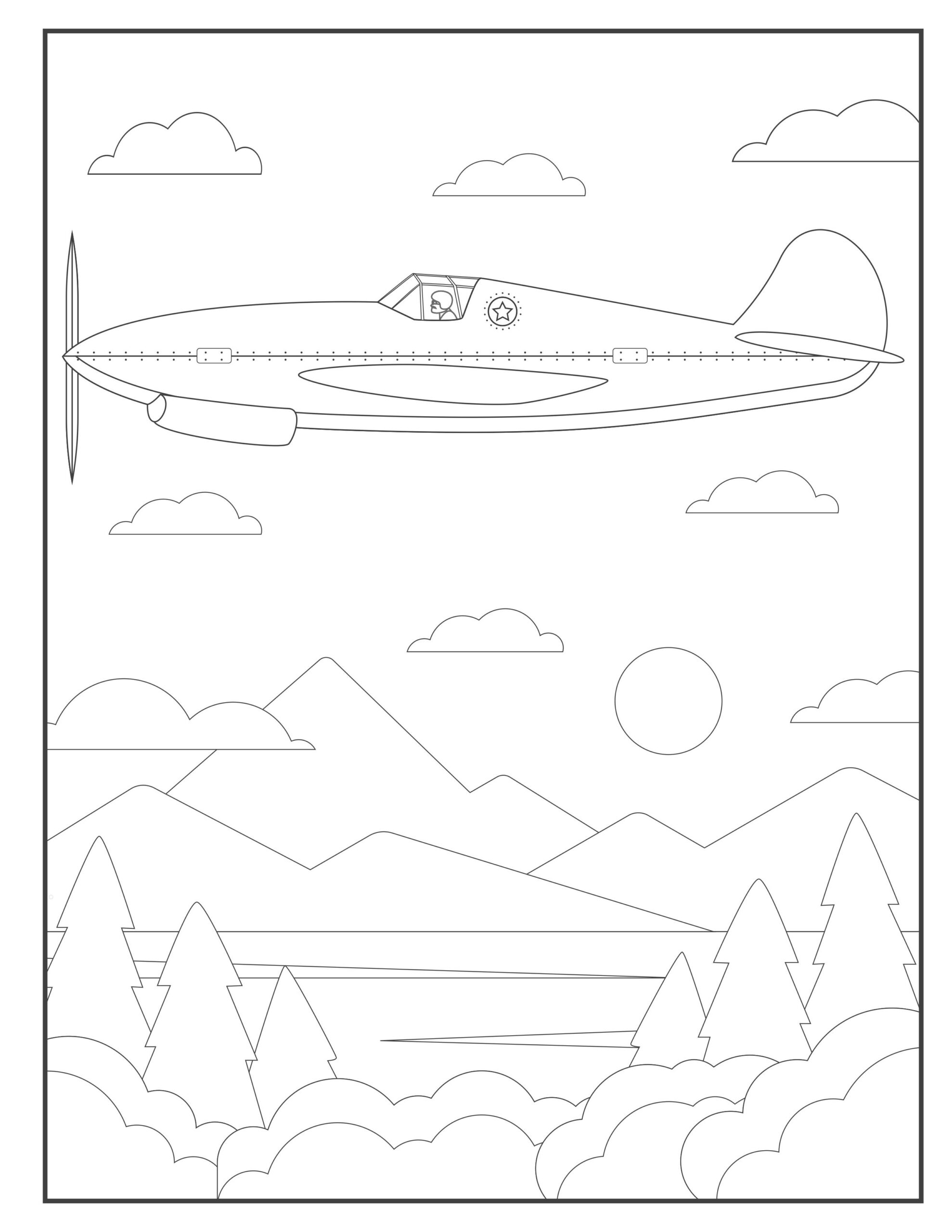 airplane coloring pages for toddlers