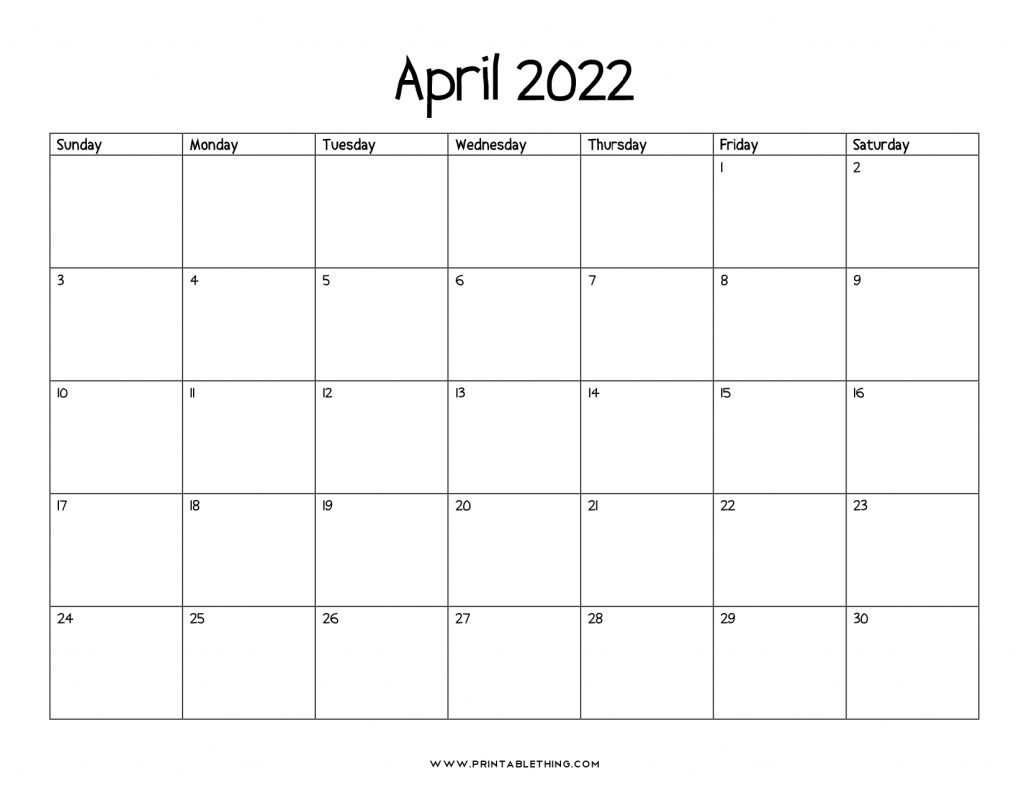 April 2022 Calendar with Holidays