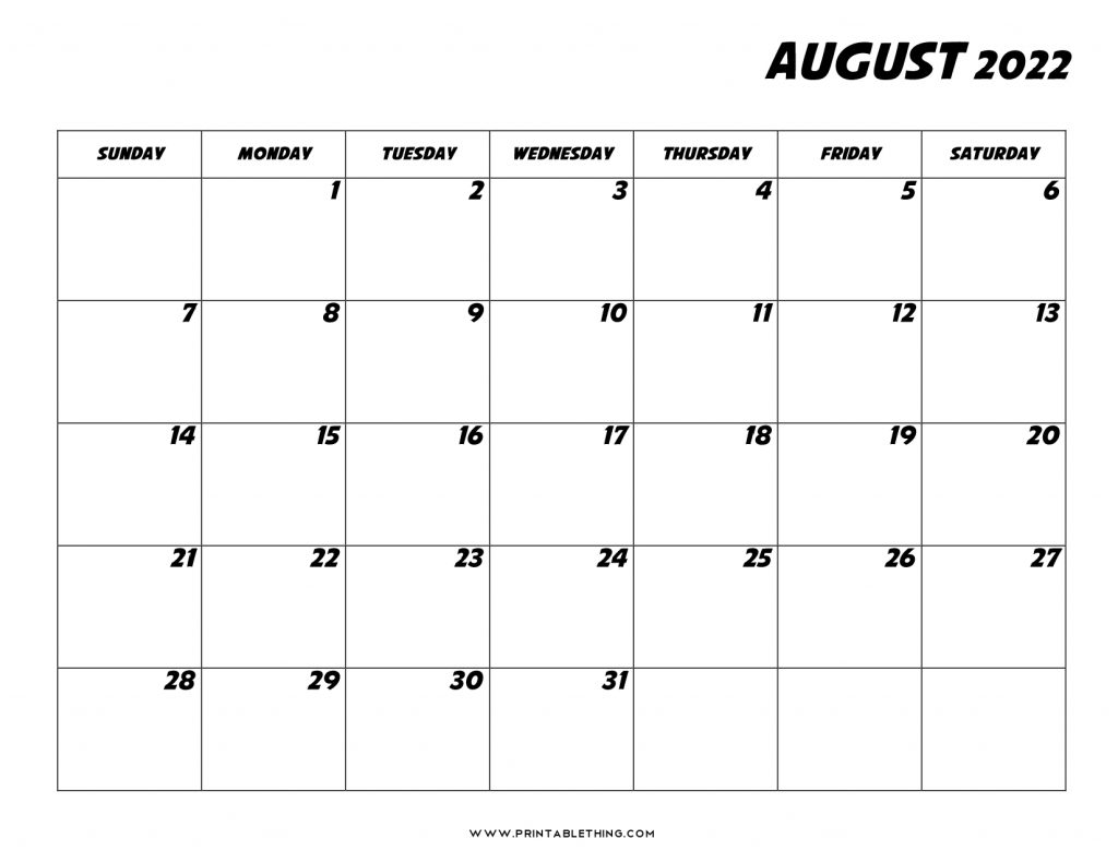 August 2022 Calendar with Holidays