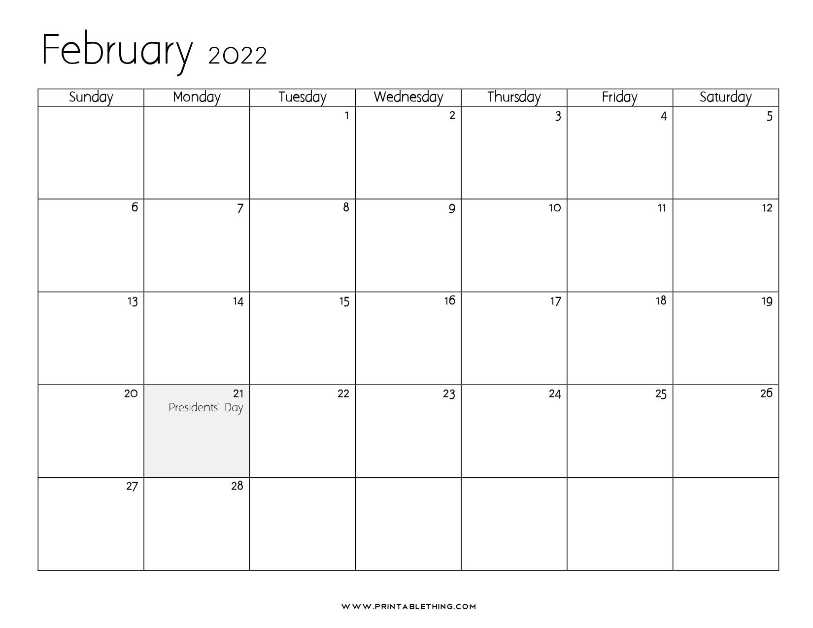 20+ February 2022 Calendar   Printable, PDF, US Holidays ...