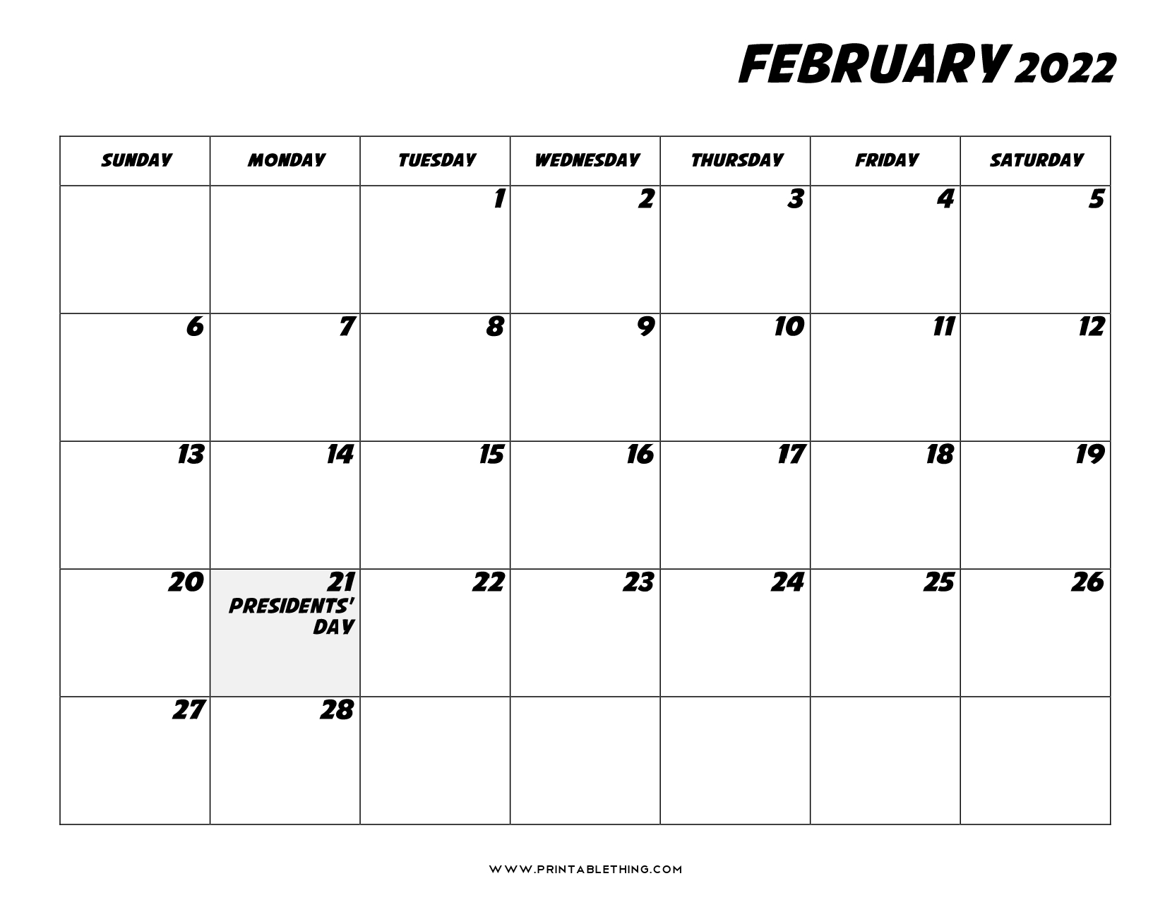 20+ February 2022 Calendar | Printable, PDF, US Holidays ...