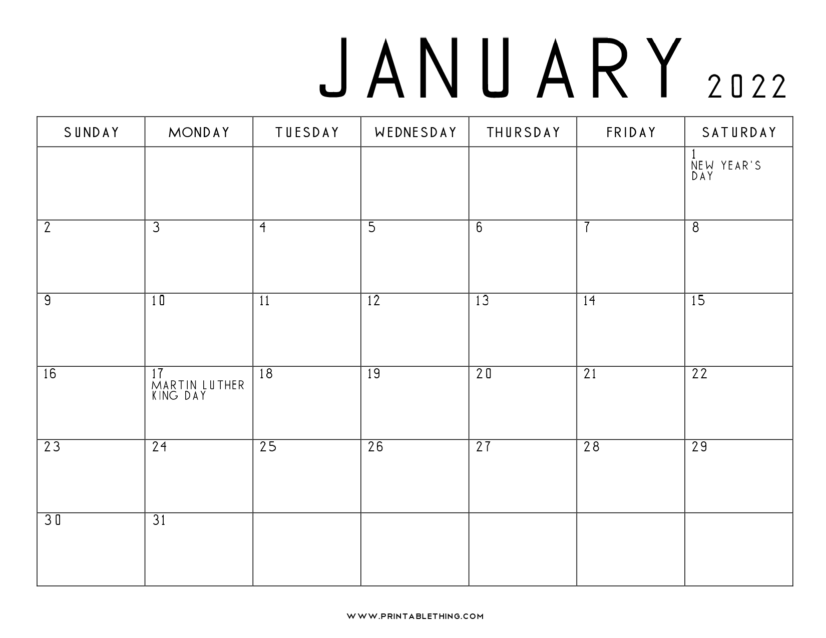 20+ January 2022 Calendar | Printable, PDF, US Holidays ...