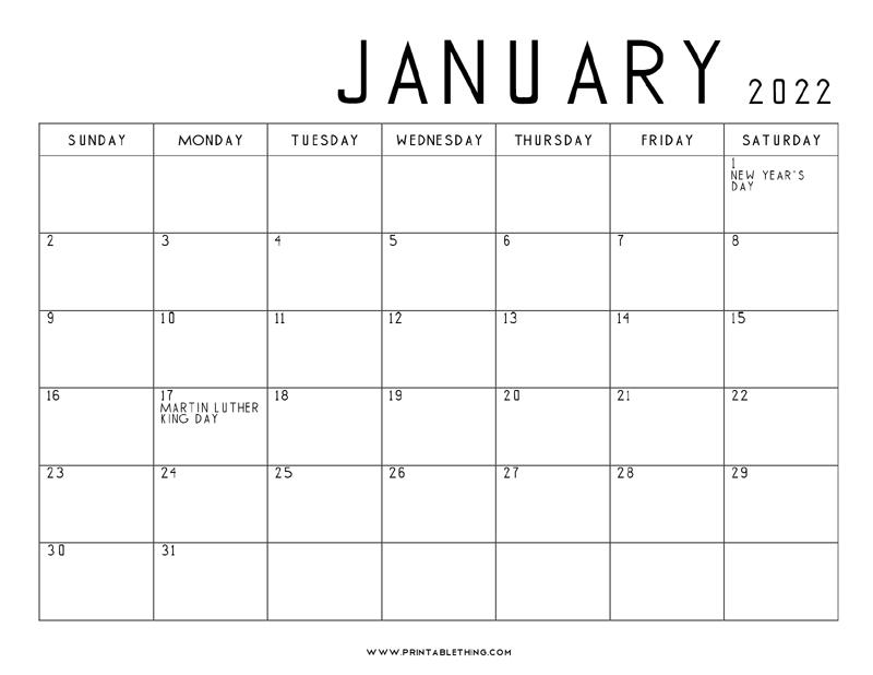 2022 January Calendar Printable.January 2022 Calendar Printable Pdf Us Holidays January 2023 2024