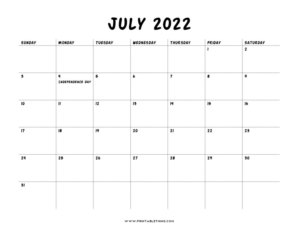 July 2022 Calendar with Holidays