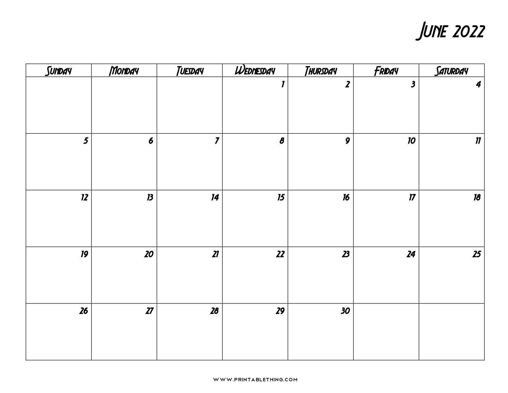 19+ June 2022 Calendar   Printable PDF, US Holidays, Blank ...