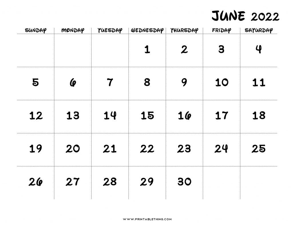 June 2022 Calendar Printable