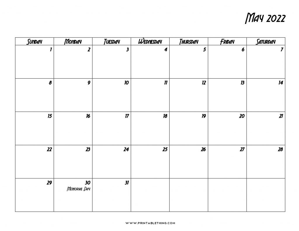 May 2022 Calendar with Holidays