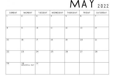 Blank May 2022 Calendar.2022 Calendar Printable Pdf 2022 Calendar Printable One Page Usa