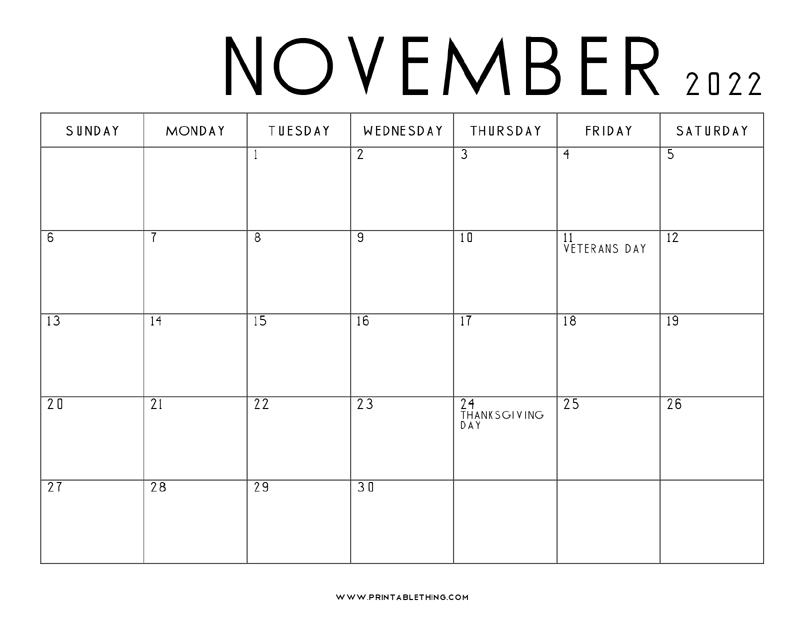 Printable November 2022 Calendar.20 November 2022 Calendar Printable Us Holidays Blank Free Pdf