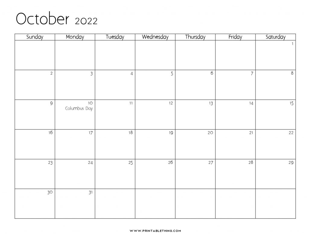October 2022 Calendar with Holidays