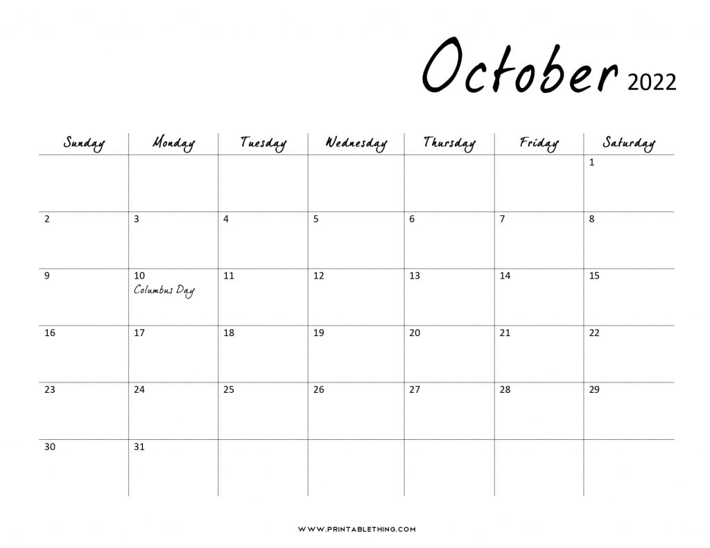 October 2022 Calendar Printable