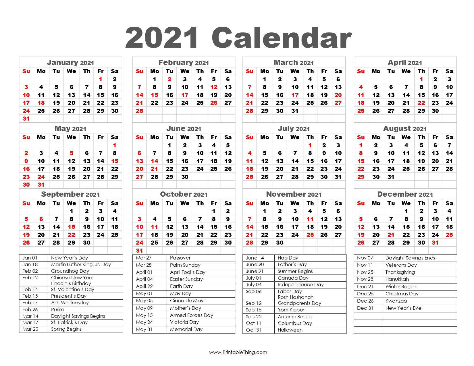 2021 Calendar Printable One Page, 2021 Calendar Printable PDF