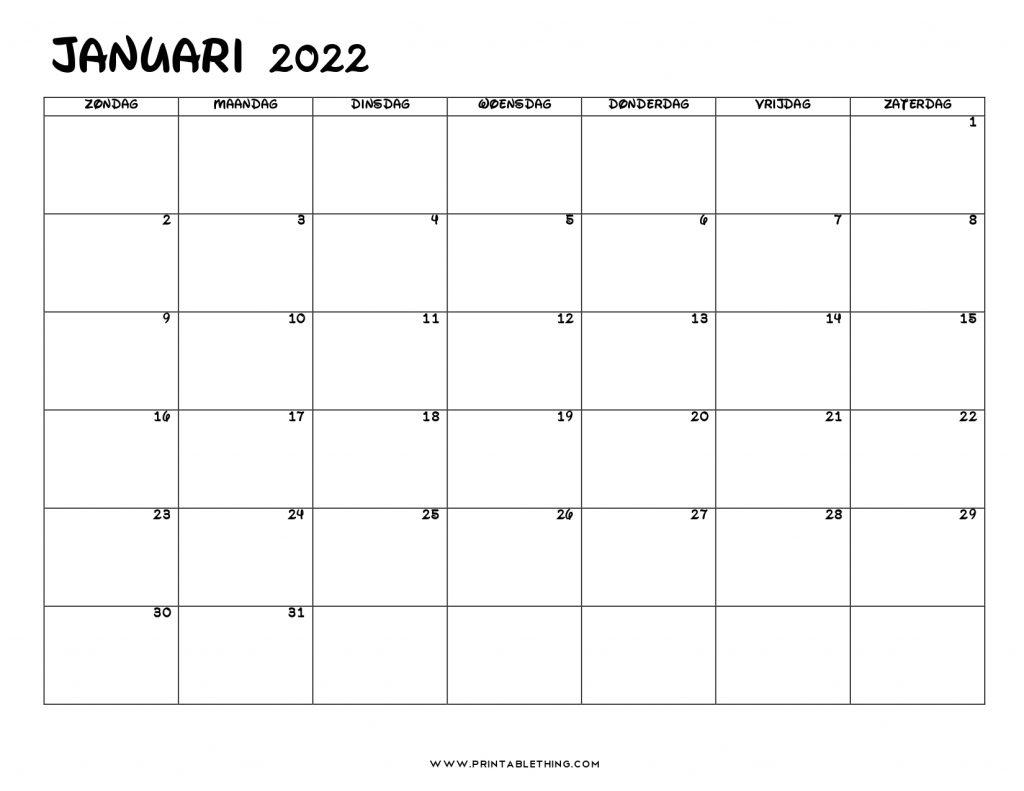 Kalender januari 2022